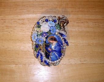 Blue Angel Pin Brooch Pendant Ant Brass OX By Caroline Erbsland OOAK Signed