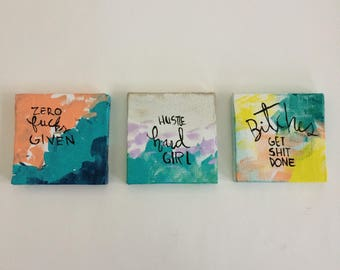 Three mini feminist paintings series B - bright colors - bold art- unbreakable - the future is female - vive le feminisme