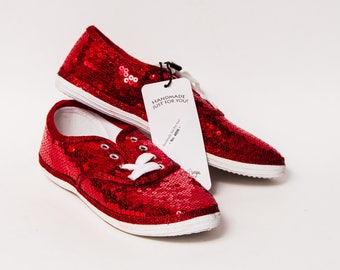 Ready 2 Ship - Size 10 WMNS Red Sequin Canvas Sneakers Shoes