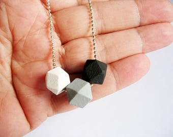 Monochromatic Cube Necklace Trio Black Gray White Wooden Geometric Cubes Silver Ball Chain Hand Painted