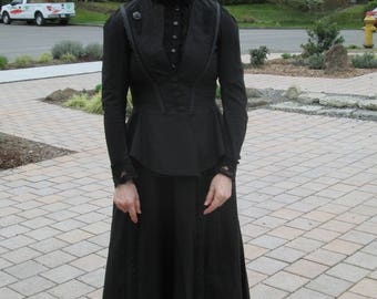 Black mourning Victorian inspired Dress two item skirt and bodice steampunk made for film seven witches