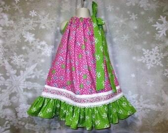 Girls Dress 4T/5 Pink Green Flower Pillowcase Dress, Pillow Case Dress, Sundress, Boutique Dress