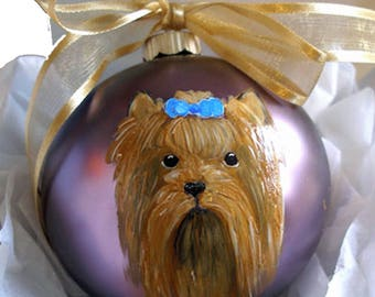Yorkshire Terrier Yorkie Dog Hand Painted Christmas Ornament - Can Be Personalized with Name
