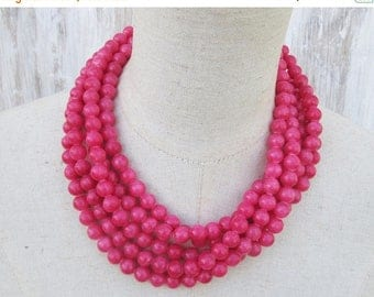 XMAS in JULY SALE Hot Pink Multi Strand Beaded Layered  Statement Necklace