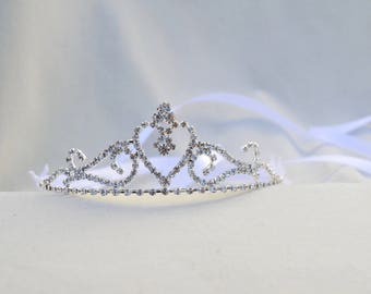 Girls And Toddler Rhinestone Tiara / Flower Girl Tiara / Princess Tiara / Birthday Tiara /  Cinderella Tiara / Flower And Rhinestone Tiara