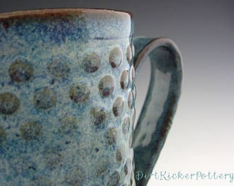 Pottery Mug with Texture Dots in Rustic Iron Blue - Sensory Mug - by DirtKicker Pottery