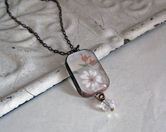 Vintage Sheer Hanky Long Necklace Glass Jewelry