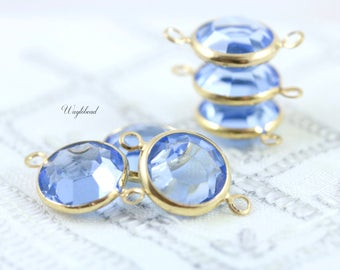 Light Sapphire Blue Vintage Round Swarovski Crystal Gold Plated 2 Rings 11mm Channel Connectors Links - 2
