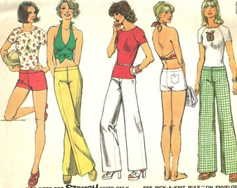 Vintage 70s Simplicity 6354 Misses Mod Halter Top, T- Shirt, Shorts and Hip Hugger Pants or Shorts Sewing Pattern Sizes 12 Bust 34
