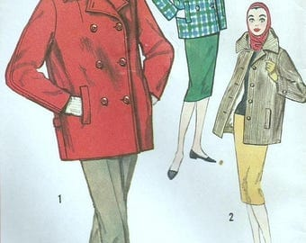 ChristmasinJuly Vintage 50s Simplicity 2638 Misses Double Breasted Peacoat, Car Coat or Topper Coat Sewing Pattern Size 12 Bust 34