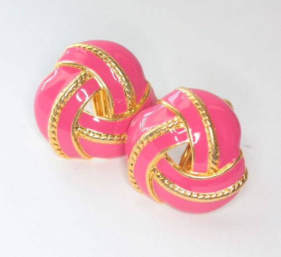 Pink Enameled Swirled Earrings Gold Tone Adjustable Clip On Signed JS