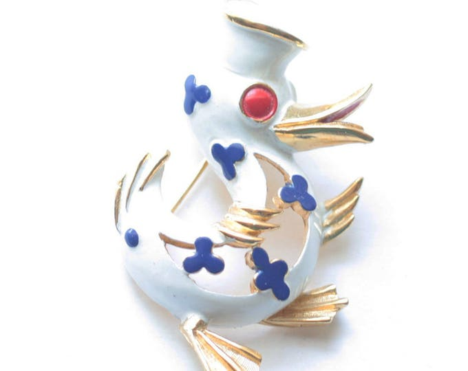 Enameled Patriotic Sailor Duck Brooch Crown Trifari Precious Pets Series Vintage