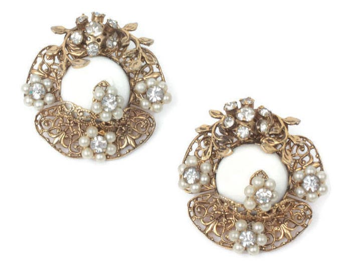 White Milk Glass Earrings Rhinestones Floral Design Clip Backs Larger