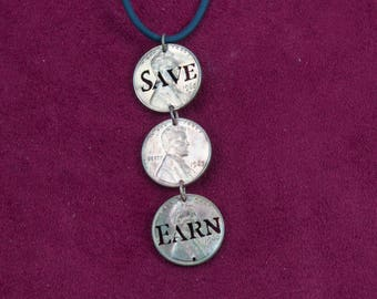 CLEARANCE- Penny Saved, Penny Earned Pennies Dangle Pendant