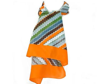 1970s Nasham Freres LTD Multicolored Orange Sage Gray Diagonal Striped Oblong Polyester Scarf Scarves NWT