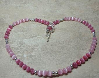 Cat's Eye Necklace, Pink Rose Necklace, Cat's Eye Gemstone, Spiritcatdesigns, FREE SHIPPING, Gift for Her