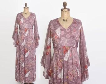 Vintage 70s Maxi DRESS / 1970s Plum Floral Paisley Bohemian Angel Sleeve Maxi