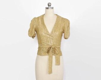 Vintage 70s Metallic Gold TOP / 1970s Puff Sleeve Lurex Wrap & Tie Blouse