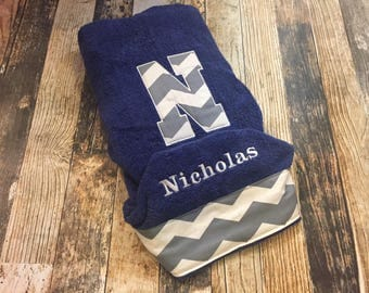 Personalized Hooded Infant / Child Towel in Chevron with your choice of towel color