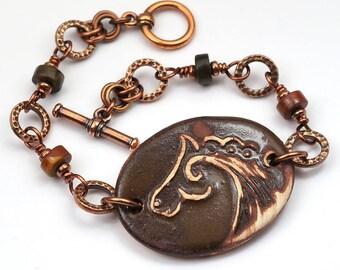 Copper and ceramic horse bracelet, red creek jasper beads, 7 1/2 inches long