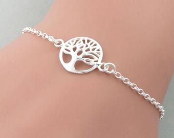 Skinny Silver Tree of Life Bracelet, Sterling Silver, Family Tree Bracelet, skinny bracelet