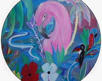 Tropical flamingo garden car coasters from my art set of 2