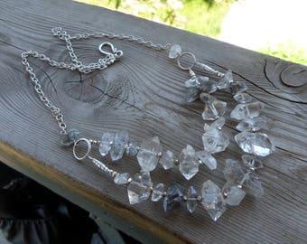 Huge One of a Kind Herkimer Diamonds (Quartz) Gemstone Birthstone Bib Sterling Silver Necklace