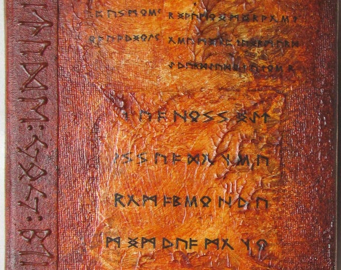 Handmade Refillable Journal Distressed rust Brown Runes textured 7x5 Original travellers notebook hardcover fauxdori