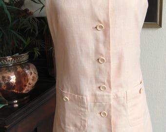 Vintage Jaeger Linen Shift Dress~Drop Waist~Tennis Style~60s70s ~Preppy~Mod