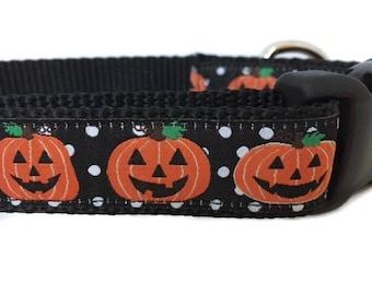 Halloween Dog Collar, Pumpkins, 1 inch wide, adjustable, quick release, metal buckle, chain, martingale, hybrid, nylon