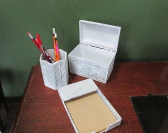 Desk Organizer Upcycled Vintage Set of 3 Pencil, Note Paper and Index Card Holders