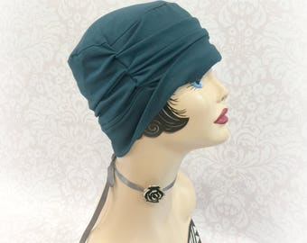 Chemo Hats - Cotton Beanie - Elegant Chemo Cap - Hair Loss Hats - Chemo Beanie - Alopecia Hats - Teal Jersey Hat - Soft Beanie Hat - Beanies