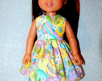 """Spring Sale Dress for 14.5"""" Wellie Wishers or Melissa & Doug Doll Clothes Easter Egg sparkle tkct1209 READY TO SHIP"""