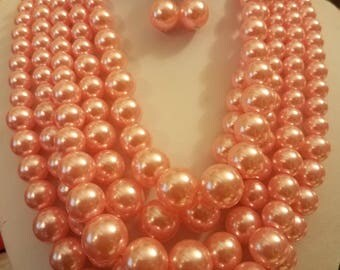 Multi Strand Pink Faux Pearl Necklace