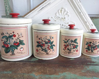 Vintage 1950s Metal Strawberry plants Nesting Canisters Wooden handle top Red and White
