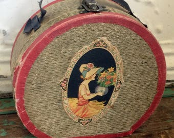 Antique Paper Round Doll Case / Suitcase / Train Case With Victorian Lady