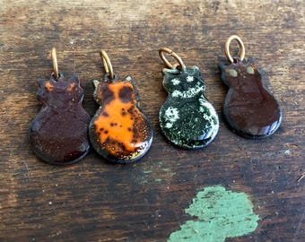 Vintage lot 4 Enamel Copper Modernist Cats Kitty Charms pendants