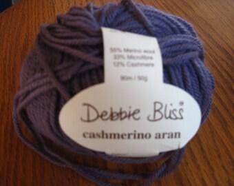 Debbie Bliss Cashmerino Aran Purple Color # 330017 100% Merino Blend 1 Skein 50 G Free US Shipping