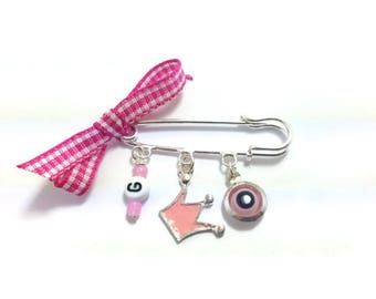 Lucky Evil Eye Safety Pin - Baby protection with initial - New mommy - Baby shower - baptism - birth announcement - stroller - baby gift