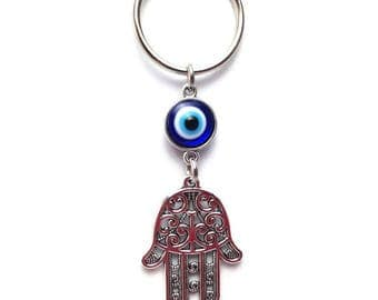 Hamsa hand evil eye keyring - keychain - Dark blue - Greek mati - Car/home gift