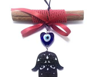 Evil eye Hamsa Wall Hanging - Protection & Good Luck - Greek souvenir - Greece - Cinnamon wood