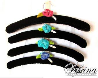 Black Velvet Hangers | Set of Four | Hand-Embroidered Pink, Blue & Purple Flower Details | Handmade in Sunny California | No Slip Design