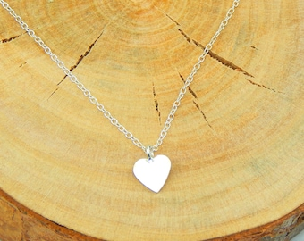 Silver Heart Necklace,Sterling Silver Heart Necklace,Sterling Necklace,Heart Charm Necklace,Layering Necklace
