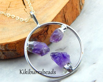 Amethyst Necklace,Raw Amethyst Necklace,Gemstone Jewelry,Circle Necklace,Raw Quartz Necklace,Amethyst Jewelry,One Of A Kind