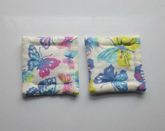 pink blue yellow pastel butterflies hand quilted refrigerator magnets set of 2