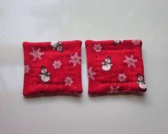 refrigerator magnets the red snowman and snow flakes set of 2