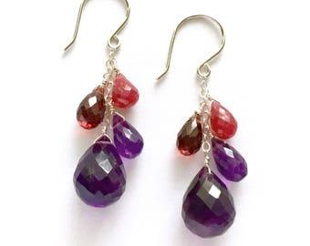 Red Garnet, Red Ruby, Purple Amethyst Earrings. Genuine Natural Gemstones and Sterling Silver Earrings.