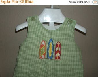 ON SALE Personalized Surfboard Shortall JonJon Monogrammed Lime Gingham