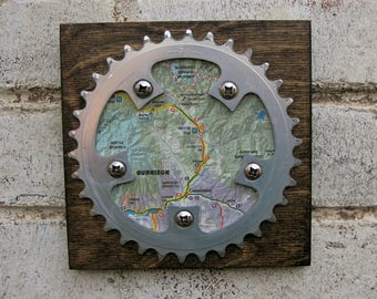 """6""""x6"""" Recycled Bicycle Chainring Gunnison/Crested Butte Map Plaque"""