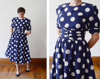1980s Navy and White Polka Dot Dress - M/L
